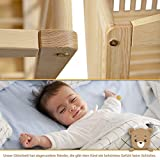Gitterbett Babybett 2in1 60x120 mit Schublade Schlupfsprossen und Lattenrost Höhenverstellbar Umbaubar zum Juniorbett für Mädchen und Junge - 3