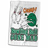 3D Rose Funny Bowling Ball Gone Mad Design Hand/Sports Towel, 15 x 22