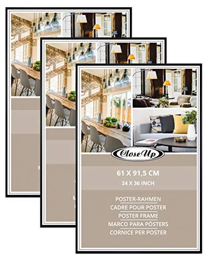 Close Up Posterrahmen-Set 3 STK. 61x91,5 cm schwarz - Wechselrahmen für Maxi Poster, Qualitäts-Bilderrahmen, bruchsichere PVC-Scheibe