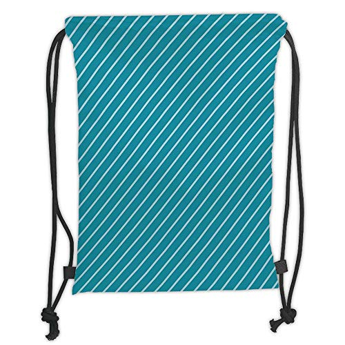 Fevthmii Drawstring Backpacks Bags,Geometric,Diagonal Striped Pattern Mediterranean Cruise Colors Ocean Travel Adventure,Light Blue Teal Soft Satin,5 Liter Capacity,Adjustable String Closur