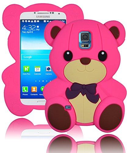 Cover in Silicone per Samsung Galaxy S5 i9600, modello Bastex in 3D, rosa a forma di orsetto con fiocco