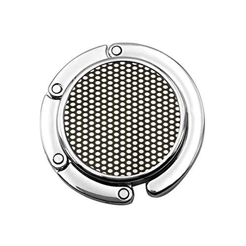 Metal Plateado Pantalla de Malla de Acero Negro y aleación de Aluminio Detalle del círculo Agujero de Rejilla Gancho Plegable para Bolso Gancho para Monedero