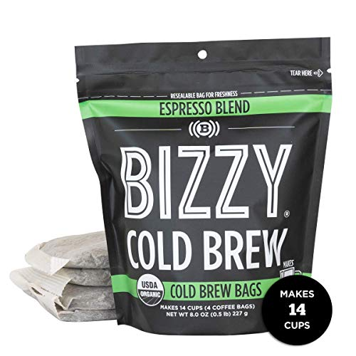 Bizzy Organic Cold Brew Coffee   Espresso Blend   Coarse Ground Coffee   Micro Sifted   Specialty Grade   100% Arabica   Brew Bags   4 Count   Makes 14 Cups