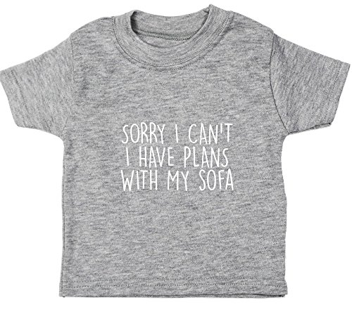 Hippowarehouse Sorry I Can't I Have Plans with My Sofa Baby Unisex t-Shirt Short Sleeve Grey