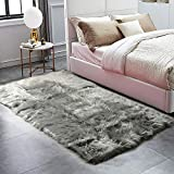 HAOCOO Faux Fur Sheepskin Rug Grey Shag Chair Coach Covers 4'x 5.3' Fluffy Wool Area Rug Large Soft Kids Play Mat Rectangle Floor Carpet for Bedroom Living Room Bedside Nursery Home Decor