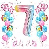 KATELUO Globo de Cumpleaños 7 Años, Decoración de Cumpleaños 7 Años, Globo Numero 7 Gigante, Cumpleaños Globos 7 Años Niña, Globos de Cumpleaños Niña 7 Años para Fiestas de Cumpleaños