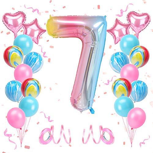 KATELUO Luftballon 7. Geburtstag, Kindergeburtstag Deko Mädchen 7 Jahr Ballons, Geburtstagsdeko 7 Jahr Mädchen, Deko Geburtstag 7 Jahr Mädchen, Riesen Folienballon 3,...