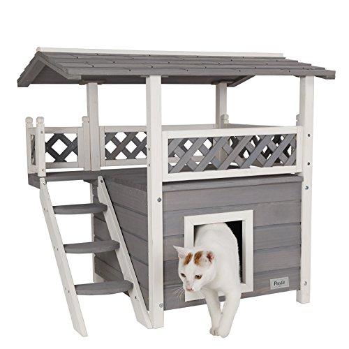 Petsfit Katzenhaus für innen aus Holz,Katzenhaus mit Rastplatz, Double Decker Katzenhaus, Grau, 77cm x 56cm x 73cm