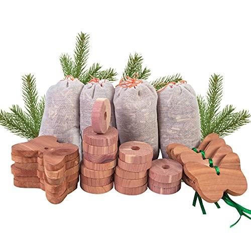 Stingmon 30 Pcs Anti Mites en Bois de Cèdre Naturel Anti Mites Peuvent être Utilisés pour Les Armoires, Les Tiroirs, Les étagères à Chaussures, Les Armoires de Rangement