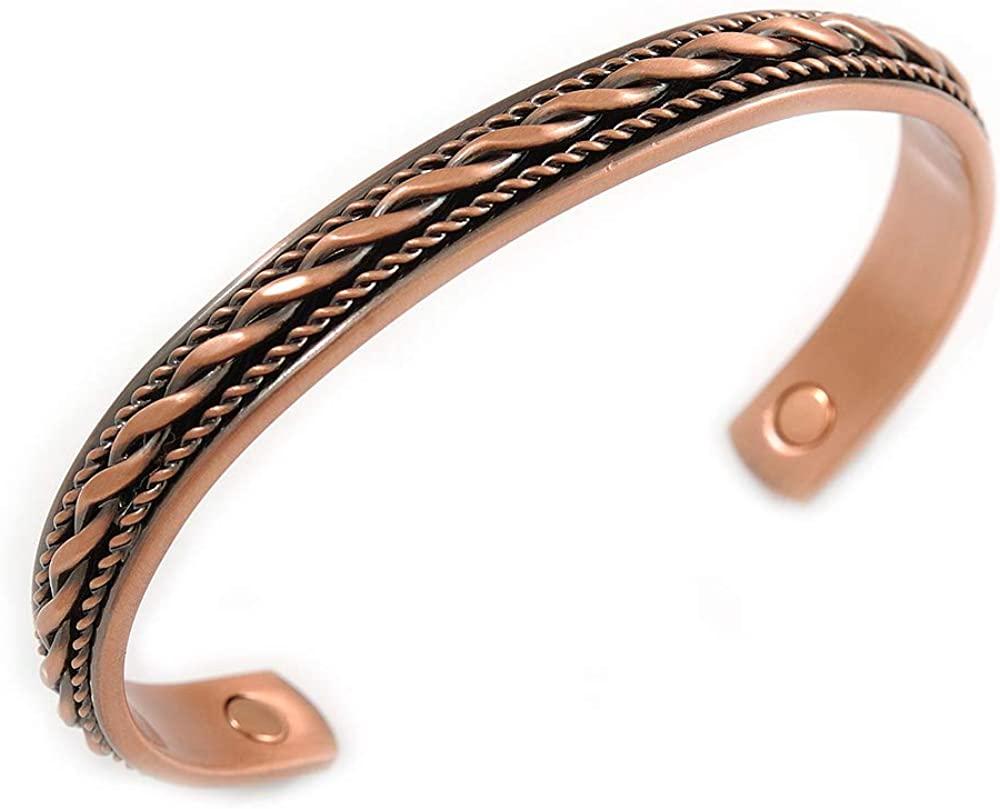 Avalaya Men Women Weave Motif Copper Magnetic Cuff Bracelet with Two Magnets - Adjustable Size - 7½