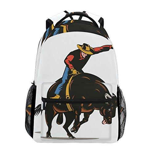Backpack Travel Cowboy Vintage School Bookbags Shoulder Laptop Daypack College Bag for Womens Mens Boys Girls