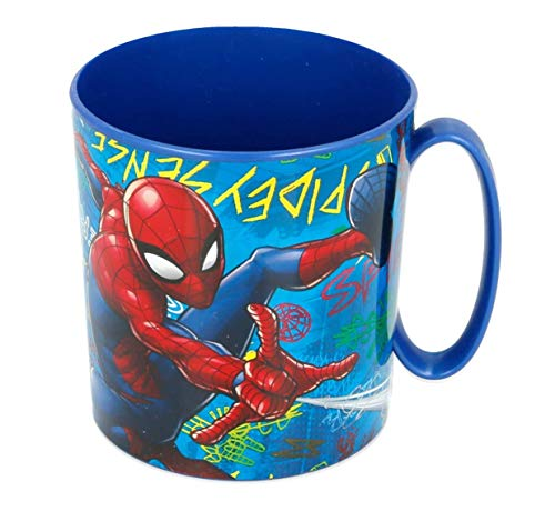 Theonoi Reutilizable – Taza de plástico de 350 ml, de Los Vengadores, sin BPA, apta para microondas, regalo para niños (Spiderman)