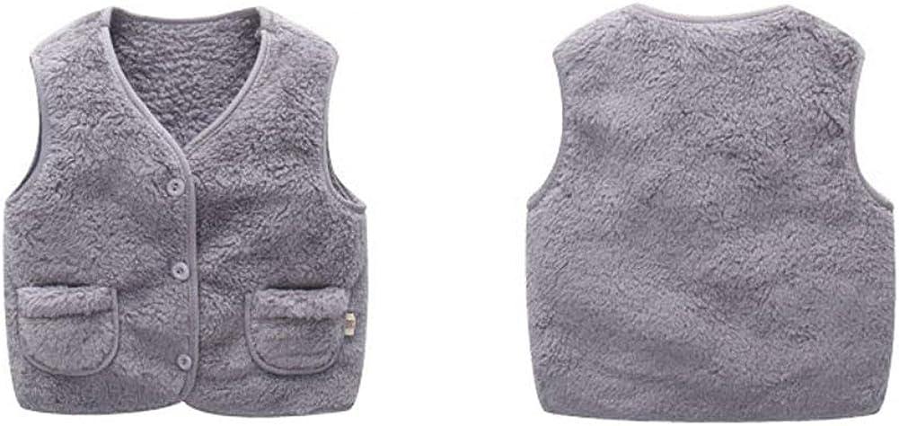 Sitmptol Unisex Baby Girls Boys Faux Fur Sleeveless Vest Coat Lightweight V-Neck Short Gilet for Toddler