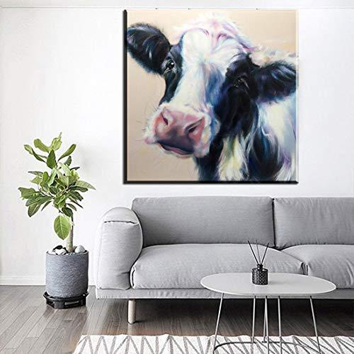 tzxdbh Pop Art abstrakte Leinwand Wandbild Bild Bunte Kuh Tier Leinwand Wandbild für Wohnzimmer Dekoration rahmenlose Malerei und Kalligraphie von rahmenlosen 70x70 cm