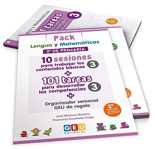 Pack Lengua y matemáticas 3º primaria: 10 Sesiones Contenidos básicos y 101 Tareas para Desarrollo competencias | Editorial Geu (Niños de 8 a 9 años)