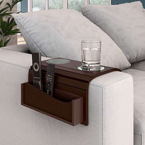 Esteira Porta Copos para Braço de Sofá com Porta Controle Isadora Design Imbuia