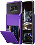 Vofolen Case for Galaxy S8 Case Wallet 4-Slot Pocket Credit Card ID Holder Flip Door Scratch Resistant Dual Layer Protective Bumper Rugged Rubber Armor Hard Shell Cover for Samsung Galaxy S8 Purple