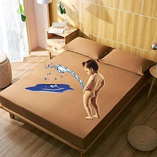 XGguo Protector de colchón Transpirable.Rizo Bambú. Sábana de Cama de algodón Impermeable de Color sólido-Café Color_1.8x2.0m