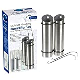 ADEPTNA Juego compacto de 2 humidificadores colgantes de acero inoxidable para radiador – controla la humedad del aire seco y deshumidificador de ducha con ganchos en forma de S