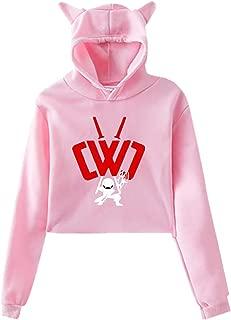 Womens CWC Chad Wild Clay Ninja Casual Style Comfortable Printing Long Sleeve Crop Top Hoodie