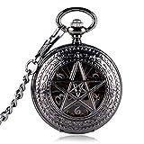 FWEOOFN Orologio da Tasca, Black Hour Hot TV Series Pentagramma soprannaturale Meccanico a Mano Wind Crown Pattern Steampunk