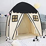 Large Children Playhouse - Indoor Nursery Canvas Play Tent Bed House, Sturdy Frame & Mess Windows, Easy to Put Up and Take Down, Ideal Gift for Boys & Girls (Black)