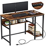 Rolanstar Computer Desk with Power Outlets, 47' Office Desk with 2 Storage Shelves with Corner Protectors, Study Table, Workstation,Business Style, Stable Metal Frame, RTB00D-YE120-1