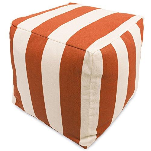"Majestic Home Goods Burnt Orange Vertical Stripe Indoor / Outdoor Bean Bag Ottoman Pouf Cube 17"" L x 17"" W x 17"" H"