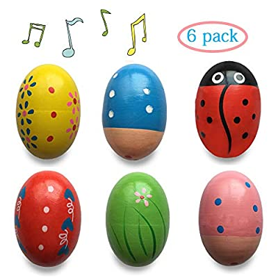Anditoy Wooden Shake Eggs Musical Easter Eggs Shakers for Toddlers Kids Girls Boys Easter Basket Stuffers Fillers Gifts