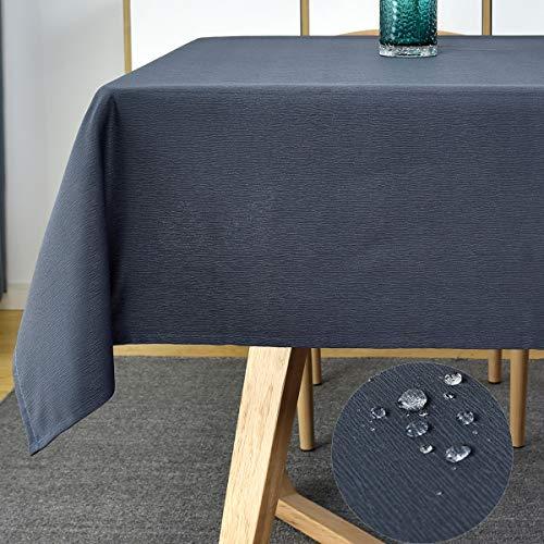 Rechteckige Tischdecke, Wirbel-Design, wasserdicht, knitterfrei, kratzfest, für Picknicks (rechteckig/länglich, 152,4 x 259,1 cm (8-10 Sitze), Marineblau
