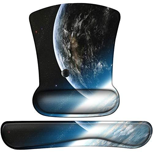 Mousepad mit Handauflage Ergonomisch Mauspad Gelkissen, Maus Mouse Pad Handballenauflage für PC Tastatur, Laptop, Computer Blaues Erdmuster