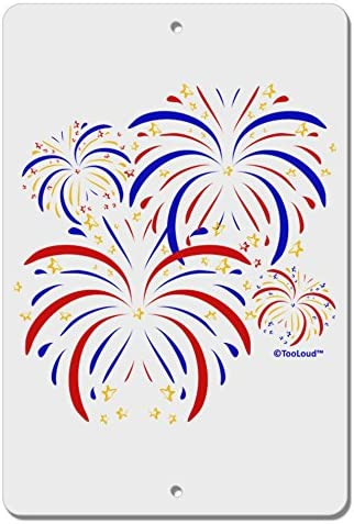Tooloud Patriotic Fireworks With Bursting Stars Aluminum 8 X 12 Sign Home Kitchen Amazon Com