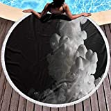 W-wishes Toalla de Playa Absorbente Pintura Blanca como el Flujo de Leche en el Agua El Medio CREA Unas Nubes maravillosas Toallas de Playa maravillosas Diámetro de 59 Pulgadas