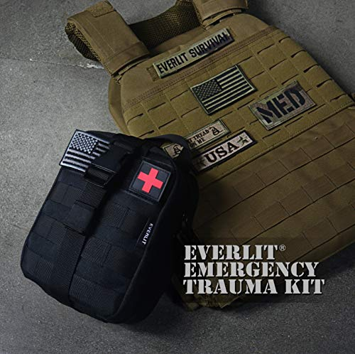 "Everlit Emergency Trauma Kit with Aluminum Tourniquet 36"" Splint, Military Combat Tactical IFAK for First Aid Response, Critical Wounds, Gun Shots, Blow Out, Severe Bleeding Control and More (Black) 4"
