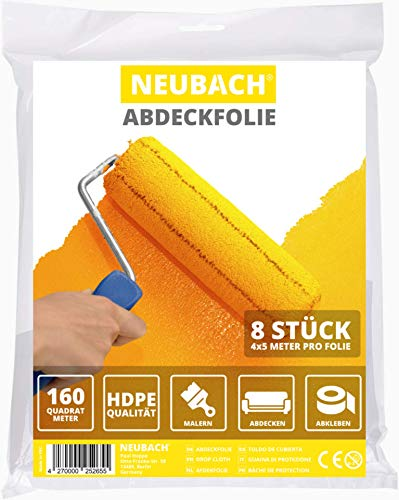 NEUBACH® Abdeckfolie [8x] - Malerfolie 4x5 Meter in HDPE Qualität - Extra reißfest perfekt für Maler - Malerplane zum Schutz von Möbeln und Boden