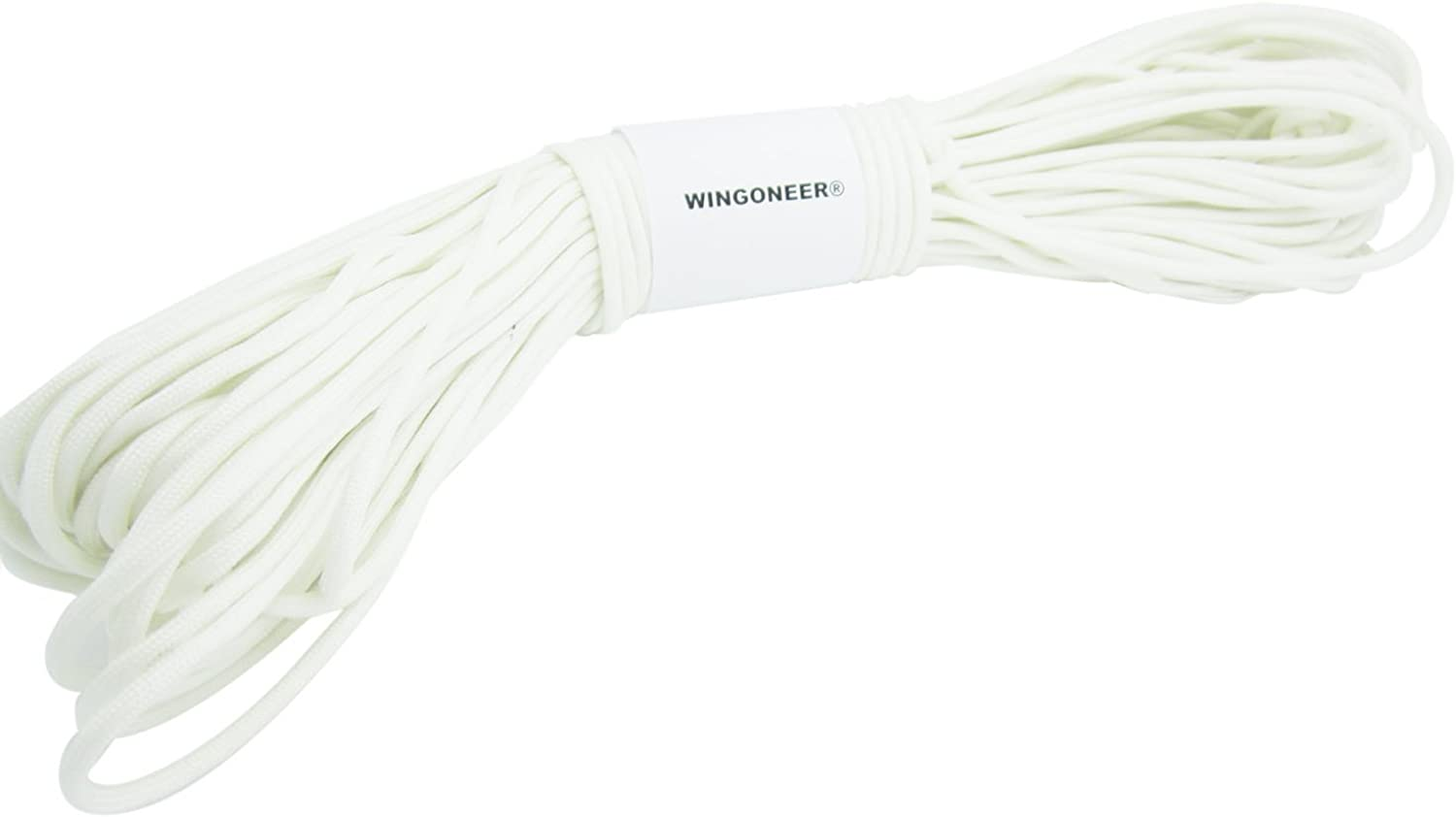 WINGONEER 550 Luminous Glow in the Dark Paracord Mil Spec Type III 7 strand parachute cord White 100 feet