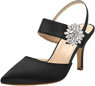ERIJUNOR Mid Heel Shoes for Women Pointed Toe Slingback Rhinestone Brooch Satin Dress Pumps Evening Prom Wedding Shoes