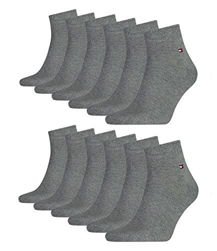 Tommy Hilfiger 12 pairs Men's Quarter Socks Gr. 39-46 Business sneaker socks, Farben:758 - middle grey mélange, Socken & Strümpfe:39-42