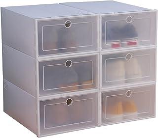 NCONCO Caja de almacenamiento de plástico transparente de 6 envases de plástico transparente caja de zapatos