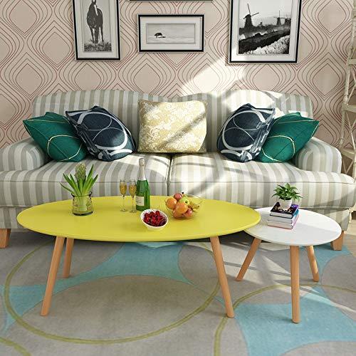 JIE salontafel Scandinavische kleur thetafel, gepersonaliseerde creatieve ovale tafel, eenvoudige moderne kleine salontafel/tijdschrift Zhuo/computertafel, geel en wit, 120 + 50 cm