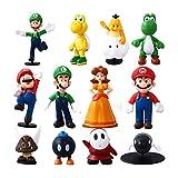 Herefun 12pcs/Set Super Mario Figurine, Super Mario Bros Figurine, Super Mario Figures Toy, Luigi Mario Yoshi PVC Action Figures Toy, Super Mario Toys Jouets de Fête d'anniversaire