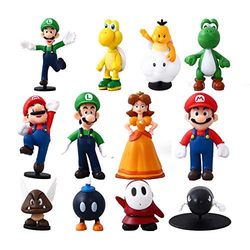 Herefun 12 Stück/Set Super Mario Modell Spielzeug - Mario Luigi Peach, Mario Spielzeug Figuren Set Sammelfiguren, Super Mario Figuren Mario Kuchen Dekoration für Geburtstag Party Kinder