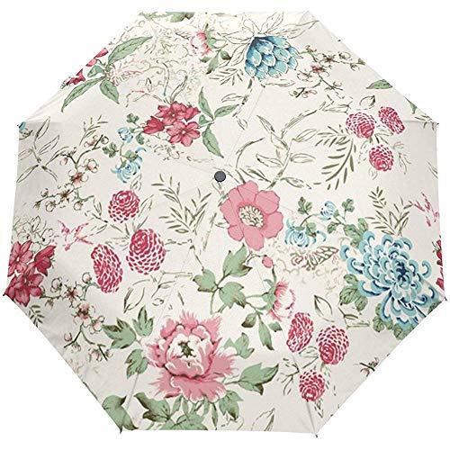 Vintage Country Garden Floral Flowers Auto Open Close Sun Rain Umbrella