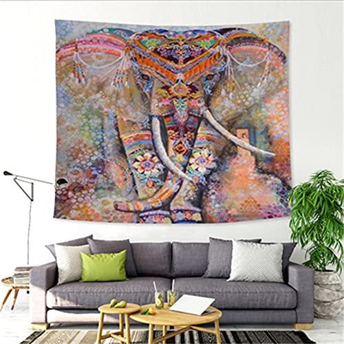 Tapiz De Elefante De Color De Impresión De Poliéster De Estilo Europeo Tapiz De Decoración De Banquete Simple Hogar Sala De Estar Dormitorio Mantel Para Colgar En La Pared 91x59 Inch{W230xH150cm}