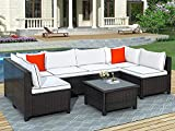 GAOPAN 7 Piece Outdoor Garden Modular Wicker Furniture Set, Sectional Rattan Sofa Patio Lounge & Deep Seating Conversation Furnishings with Cushions,Accent Pillows & Coffee Table,White+Black