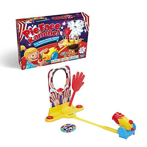Hasbro Pie Face Kanon, zabawna gra imprezowa, niesamowita gra rodzinna, wspólna gra na urodziny dziecka, kto dostaje na twarzy? 2 lub więcej graczy, od 5 lat