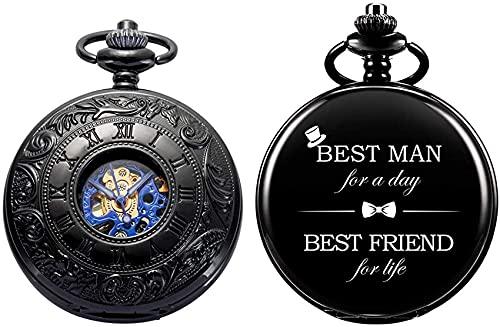 Reloj de bolsillo personalizado con grabado del mejor hombre reloj de bolsillo mecánico Fobwatch-regalos para novios para bodas  Best Man Gifts - Best Man Grabado Reloj de bolsillo Regalo de boda +