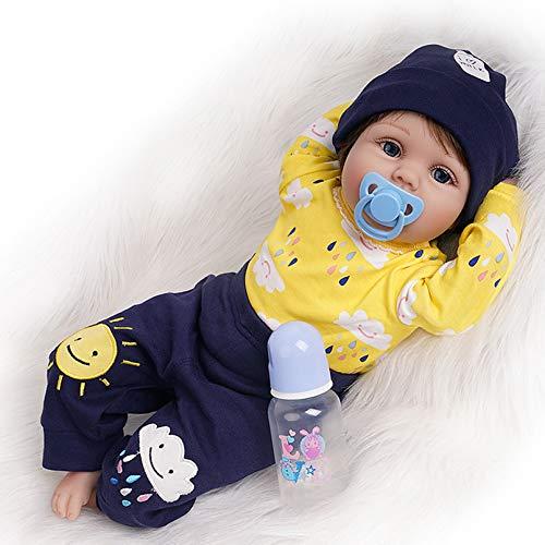 Bambola Reborn Ragazzo Realistico Bambino Maschio Silicone Vinile Vestiti Giallo 55 cm