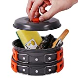 REDCAMP 12 PCS Camping Cookware Mess Kit, 800ml (28oz) Backpacking...