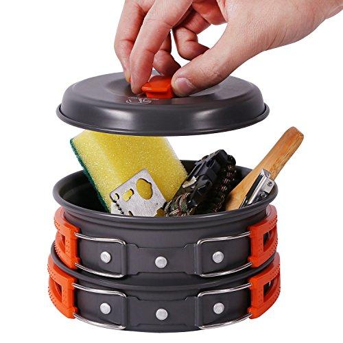 REDCAMP 12 PCS Camping Cookware Mess Kit, 800ml (28oz) Backpacking Camping Pot+Pan Set, Lightweight and Compact Cookware for Hiking, Picnic and Camping